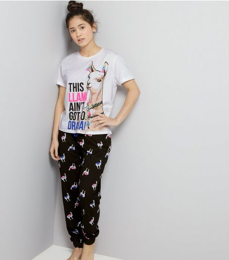 Teens White This Llama Ain't Got No Drama Pyjama Set | New Look