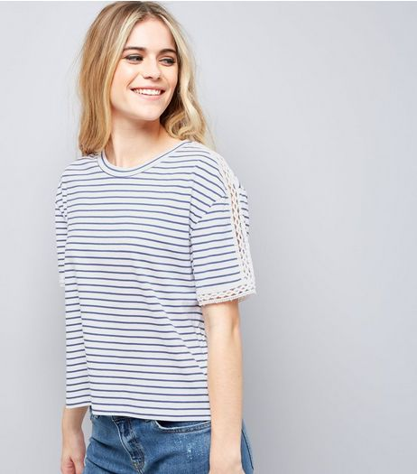 White Stripe Lace Trim Top  | New Look