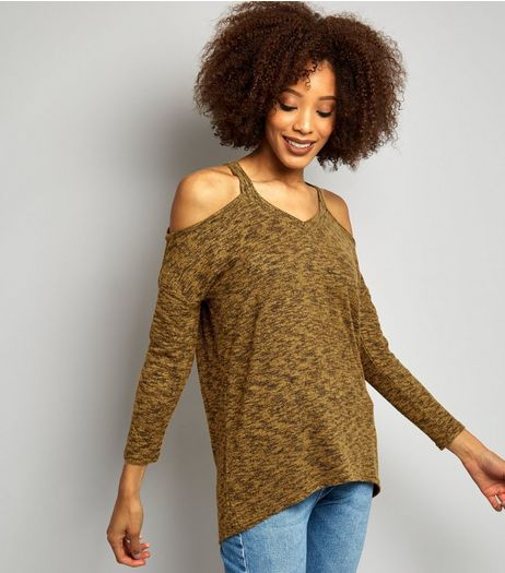 Green Cold Shoulder Long Sleeve Top | New Look