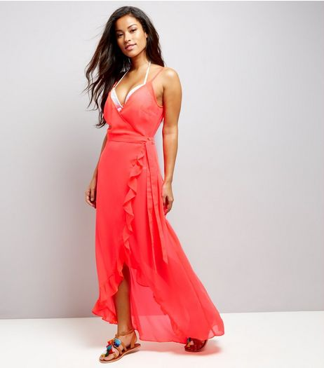 Coral Frill Trim Wrap Front Maxi Beach Dress | New Look