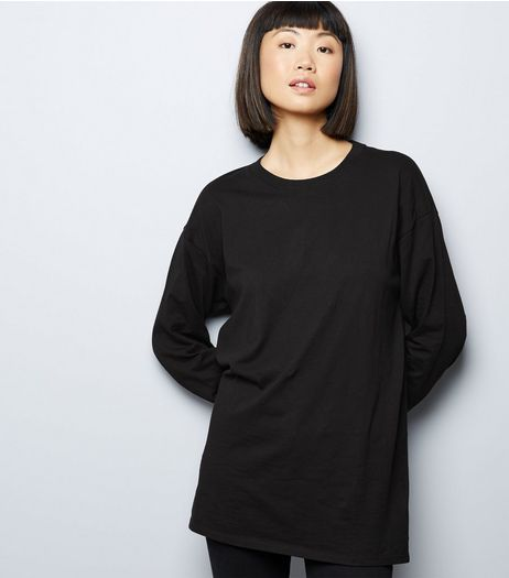 Black Longline Skater T-Shirt  | New Look