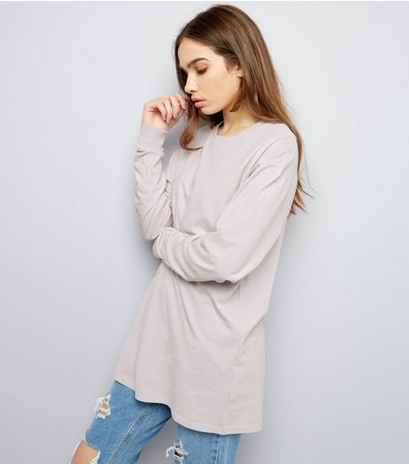 Lilac Long Sleeve Skater T-Shirt | New Look