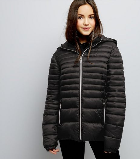 Teens Black Lightweight Puffer Jacket | New Look