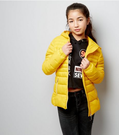 Teens Yellow Lightweight Puffer Jacket | New Look