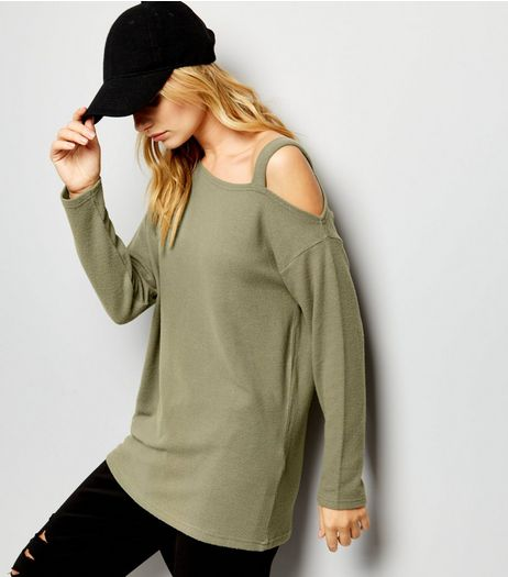Olive Green Off the Shoulder Top  | New Look