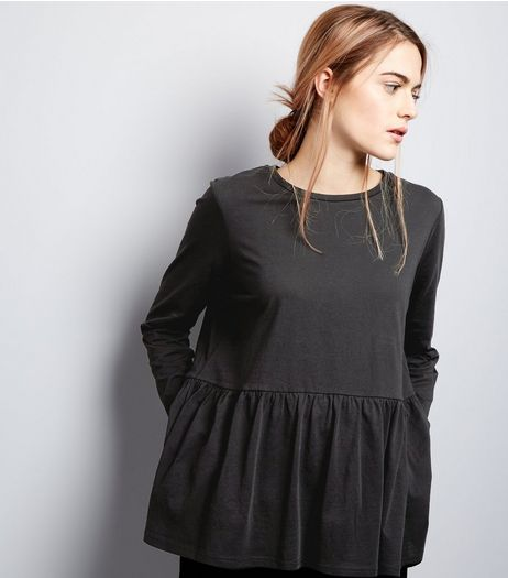 Black Frill Hem Long Sleeve Top  | New Look