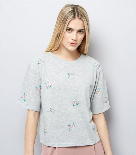 Grey Floral Embroidered Short Sleeve T-Shirt  | New Look