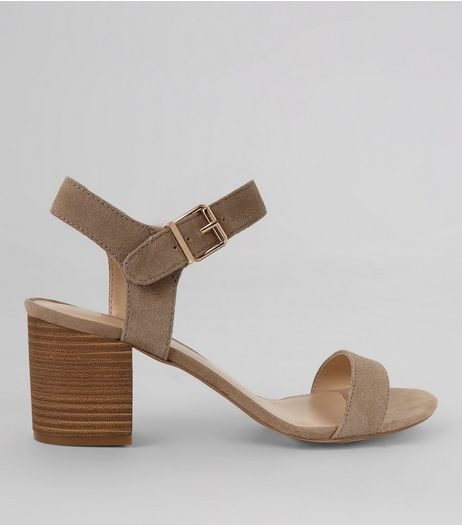 Light Brown Suedette Ankle Strap Heels | New Look