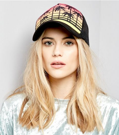 Black Colour Block Tropical Print Cap  | New Look