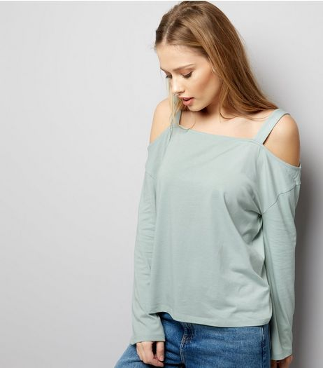 Mint Green Cold Shoulder Top | New Look