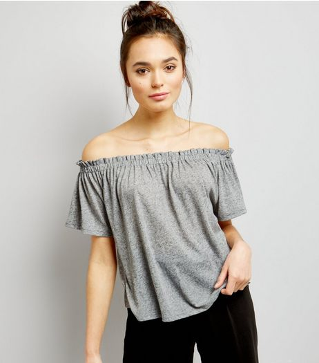 Mid Grey Shirred Bardot Neck Top  | New Look