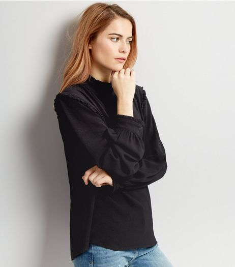 Innocence Black Crepe Frill Trim Blouse | New Look