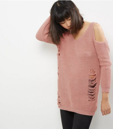 Cameo Rose Light Pink Cold Shoulder Ladder Knit Jumper | New Look