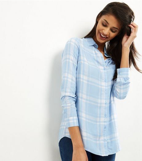 Blue Check Pocket Front Shirt | New Look