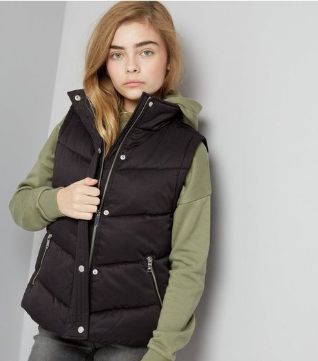 Teens White Padded Funnel Neck Gilet | New Look