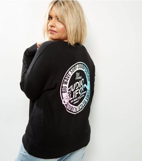 Curves Black Fluorescent Logo Sweater | New Look