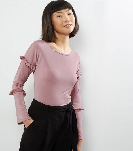 Carpe Diem Purple Frill Trim Long Sleeve Top | New Look