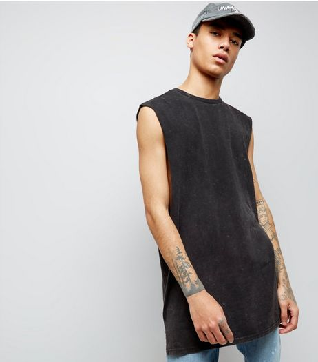 Black Acid Wash Longline Vest | New Look