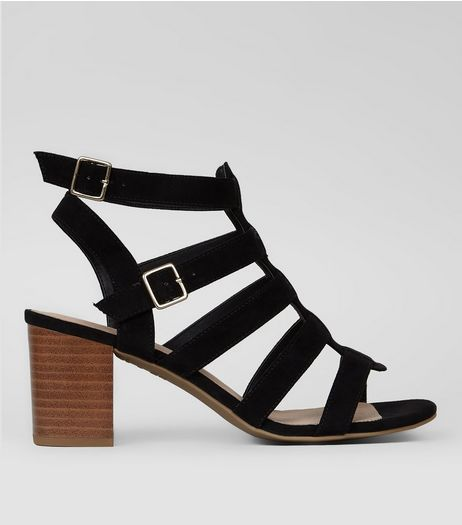 Black Comfort Suedette Gladiator Sandals | New Look