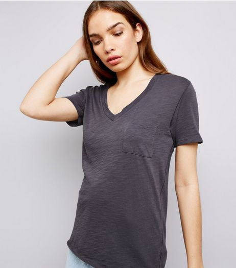 Grey Organic Cotton V Neck T-Shirt | New Look