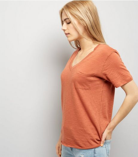 Light Brown Organic Cotton V Neck T-Shirt  | New Look