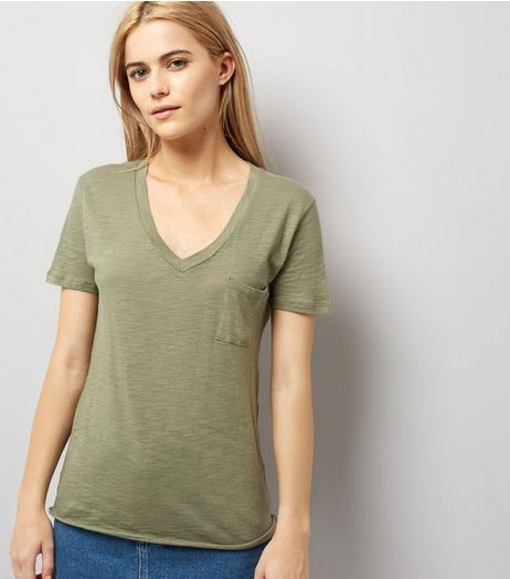 Olive Green Organic Cotton V Neck T-Shirt | New Look