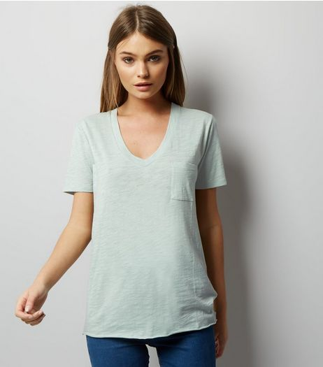 Mint Green Organic Cotton V Neck T-Shirt  | New Look