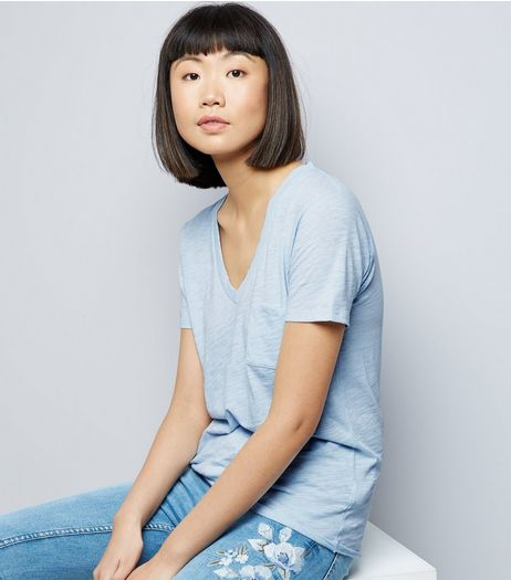 Pale Blue Organic Cotton V Neck T-Shirt  | New Look