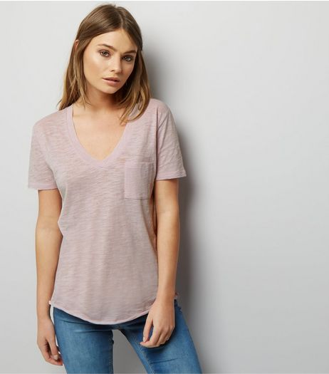 Lilac Organic Cotton V Neck T-Shirt  | New Look