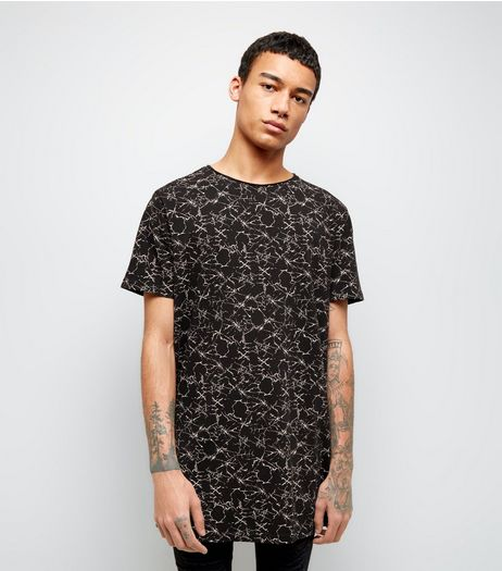 Black Crackle Print Longline T-Shirt  | New Look