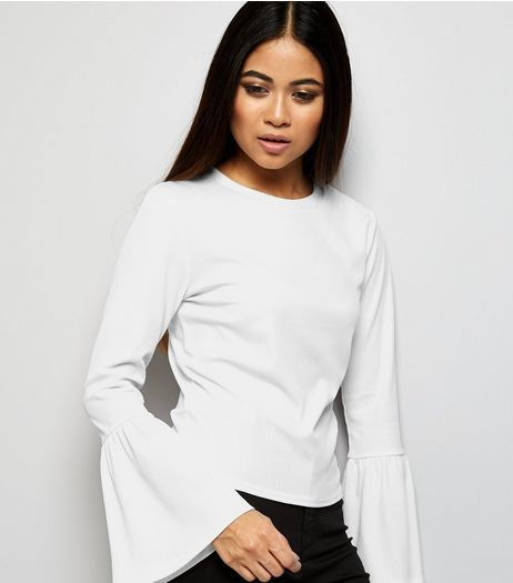 Petite White Ribbed Bell Sleeve Top | New Look