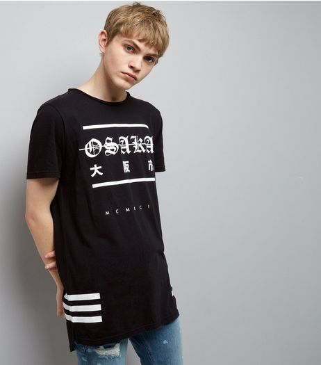 Black Osaka Print Longline T-Shirt | New Look