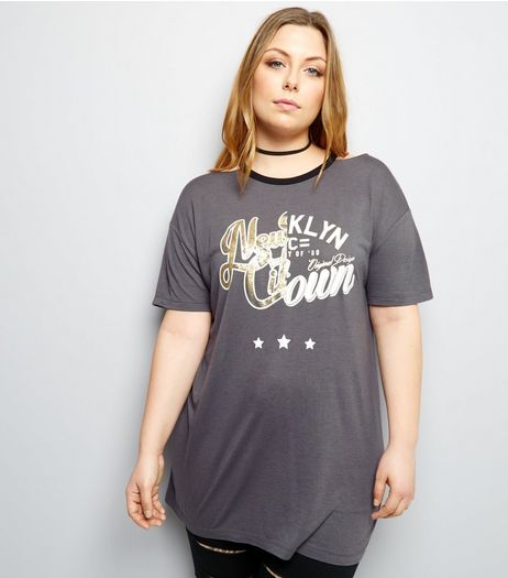 Curves Black Cut Out Neck Spliced Print T-Shirt | New Look