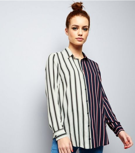 Petite White Spliced Stripe Shirt | New Look
