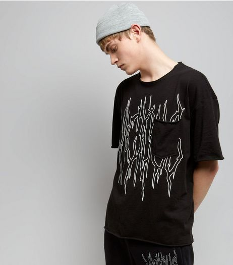 Black Viscious Print Pocket Front T-Shirt | New Look