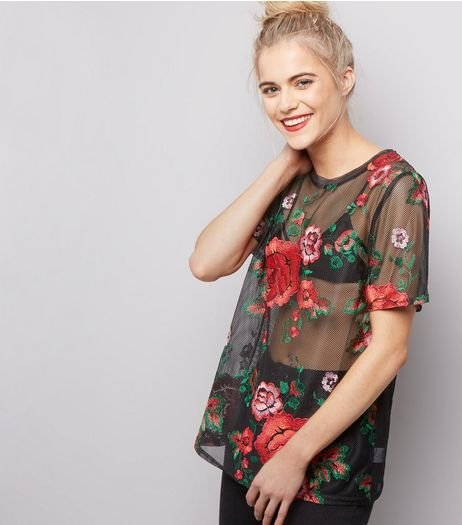Black Rose Embroidered Sheer T-Shirt  | New Look