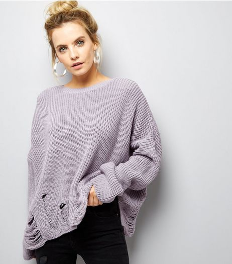 Petite Lilac Ladder Knit Crew Neck Jumper | New Look