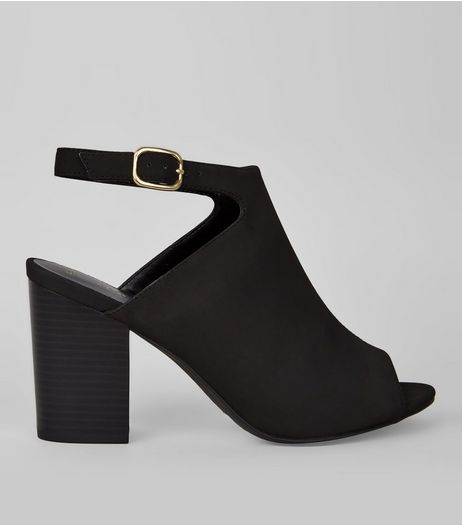 Black Suedette Peep Toe Heeled Sandals | New Look