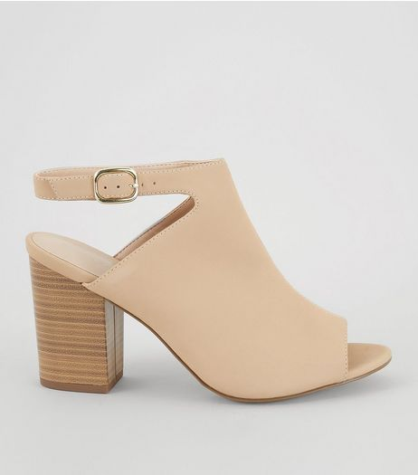 Mink Suedette Sling Back Heeled Sandals | New Look
