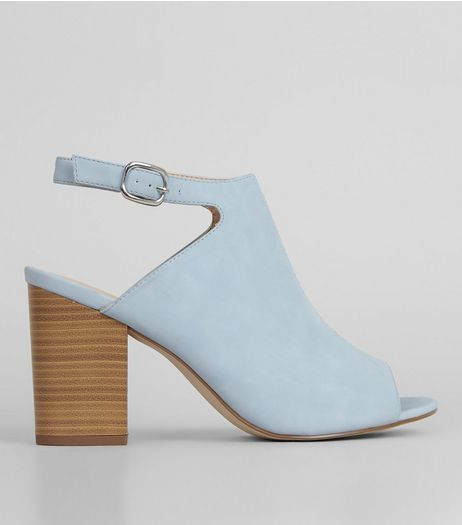 Blue Suedette Peep Toe Heeled Sandals | New Look