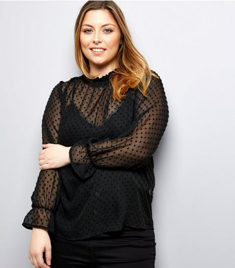 Curves Black Spot Mesh Blouse | New Look