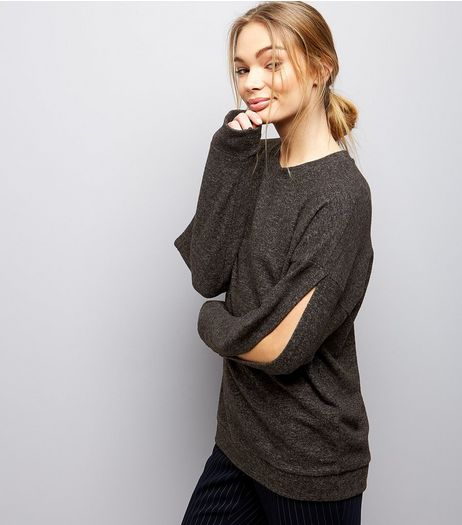 Dark Grey Brushed Split Sleeve Top  | New Look