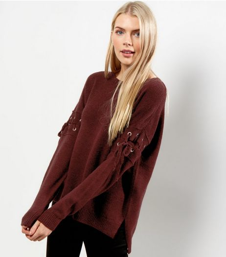 Burgundy Eyelet Trim Tie Sleeve Jumper  | New Look