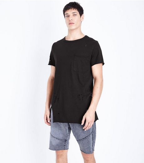 Black Distressed Pocket Front Longline T-Shirt | New Look