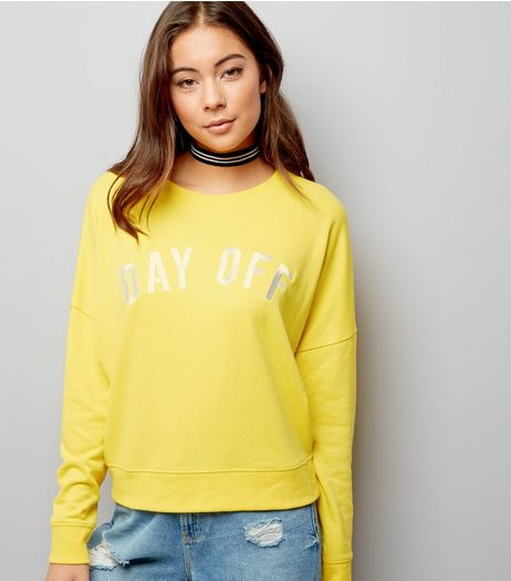 Yellow Day Off Embroidered Sweater | New Look