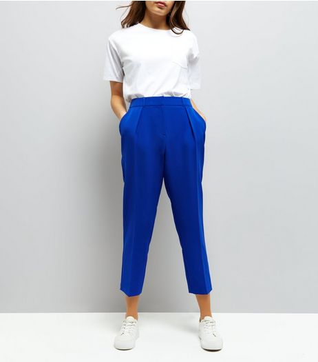 Blue Pleat Front Trousers | New Look