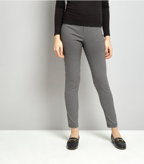 Black Gingham Bengaline Trousers | New Look