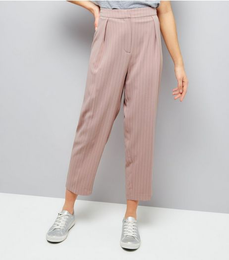 Mid Pink Pinstripe Tie Waist Trousers  | New Look