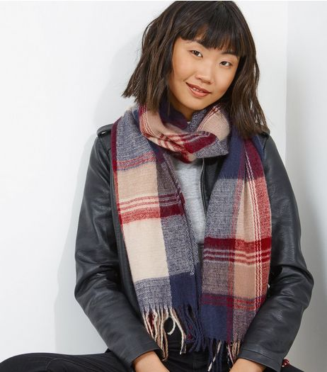 Red Check Fringe Hem Scarf | New Look