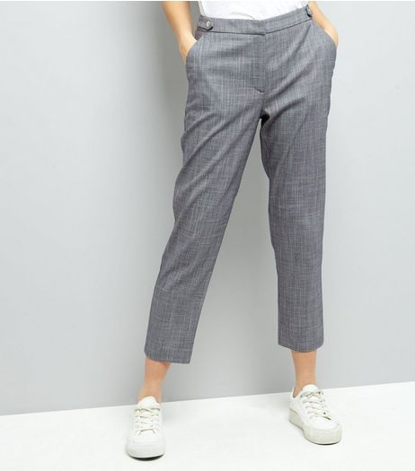 Pale Blue Popper Detail Tailored Trousers | New Look